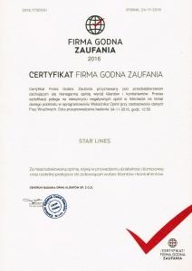 FIRMA GODNA ZAUFANIA 2016