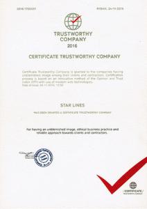 CERTIFICATE TRUSTWORTHY COMPANY